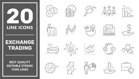 Négoce d'échange et de financement. Ensemble d'icônes du concept de contour de commerce en ligne de finance d'entreprise. Course modifiable. EPS 10. Vecteurs