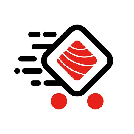 Sushi delivery logo template. Vector illustration Sushi roll sign, symbolizes the fast delivery. EPS 10 Vectores