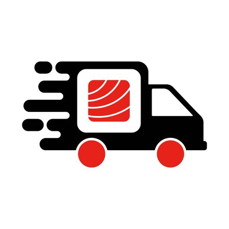 Sushi delivery logo template. Vector illustration Sushi roll sign by car, symbolizes the fast delivery. EPS 10. Ilustracja