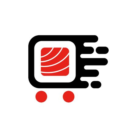 Sushi delivery service logo. Fast delivery concepr. Vector Illustration.