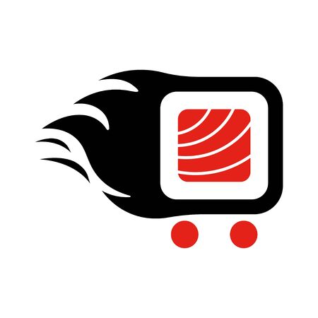 Sushi delivery logo template. Vector illustration Sushi roll sign, symbolizes the fast delivery.