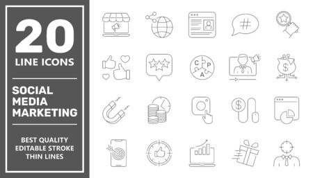 SMM icons set collection. Includes simple elements such as Content, Video Marketing, Copywriting, Ad Targeting, Audience Marketing, Blogging and Landing Page. Editable Stroke. Vectores