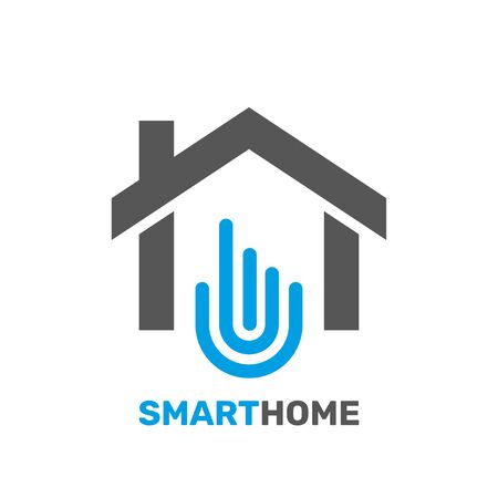 Smart home emblem for digital technologies. Vector illustration. EPS 10.
