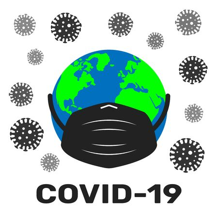 Planet earth in a medical mask is surrounded by virus and bacteria on a white. Covid-19 concept. EPS 10.