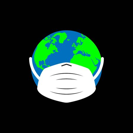 Planet in medical mask. Global Pandemic Dangerous Virus Concept. Stop pandemic. Vector Illustration. Planet earth facing world health virus outbreak problem. Banner template on black background