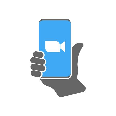 Blue camera icon - Live media streaming application for the phone, conference video calls. EPS 10