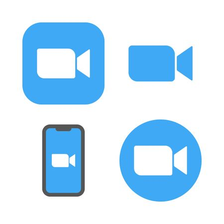 Blue camera icons - Live media streaming application for the phone, conference video calls. EPS 10