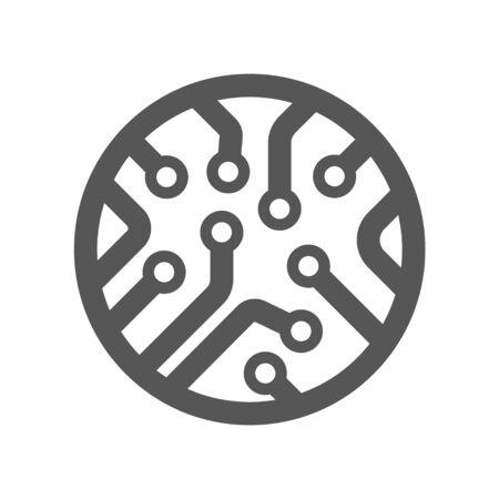Circuit board icon. Technology scheme circles and squares sign symbol. Flat icon on white. Vector illustration. EPS 10 Foto de archivo - 145054158