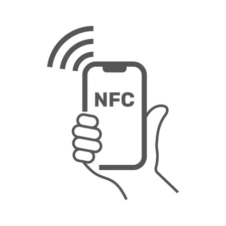 NFC illustration. Mobile payment. NFC smart phone concept flat icon. Vector Illustration. EPS 10.
