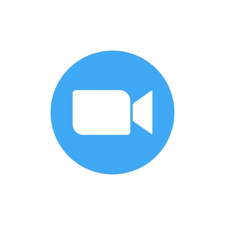 Blue camera icon - Live media streaming application conference video calls. EPS 10 Vectores