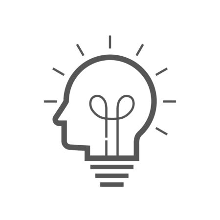 Brain idea icon. Idea and imagination simple liner icon. Editable Stroke. EPS 10 Vectores