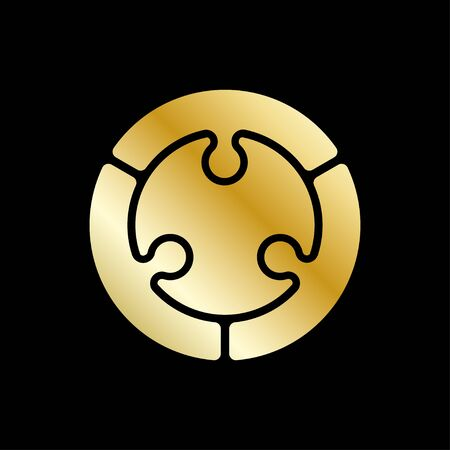 Vector abstract circle design element. Golden color.
