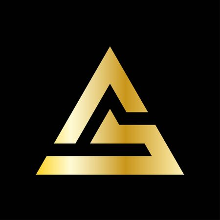 Simple triangle vector in a modern style and golden color. Vectores