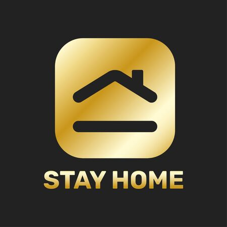Stay home sticker icon for quarantine company coronavirus covid in golden color.