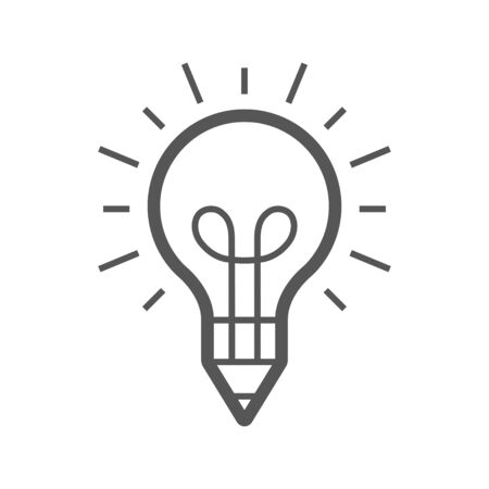 Light bulb and pencil template. Creative idea vector design. Smart writer 免版税图像 - 145260493