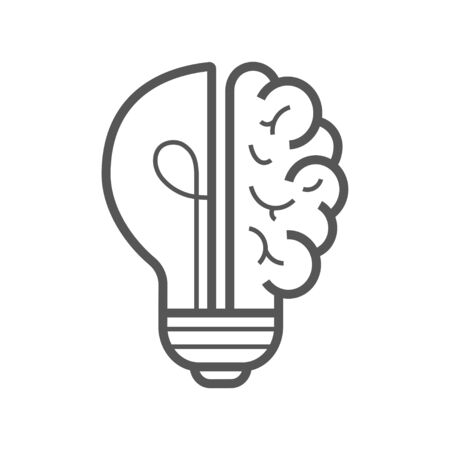 Brain idea icon. Light bulb with brain vector liner icon, idea concept. Editable Stroke. 일러스트