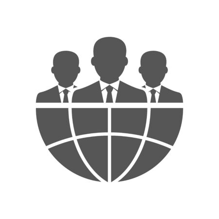 Three businessman silhouettes and earth. International business concept. EPS 10. Vectores