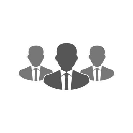 Simple, flat businessman team icon. Silhouette icon. Isolated on white. EPS 10 Vectores