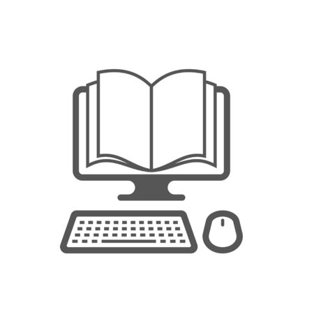 Vector  template. Reading books on the Internet, E-reading, Internet library, online book store, remote education. EPS 10. Foto de archivo - 145850092