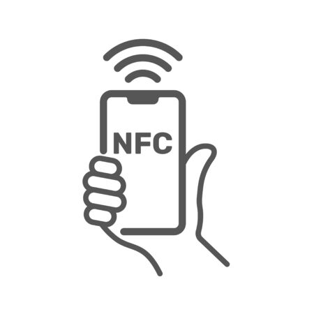 Near field communication, NFC mobile phone, NFC payment with mobile phone smartphone flat vector icon for apps and websites. EPS 10