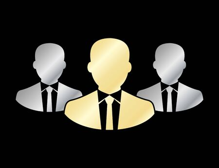 Businessman team icon. Silhouette icon. Isolated on black color. Flat vector. EPS 10