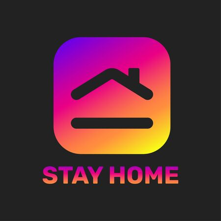 Stay home sticker. House with heart shape, love stay at home care symbol, vector illustration. EPS 10 스톡 콘텐츠 - 145850100