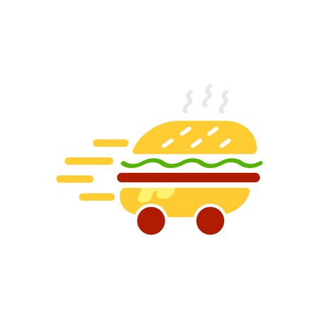 Burger delivery service logo vector template illustration. Express delivery concept. Hamburger delivery icon. EPS 10 Foto de archivo - 146985290