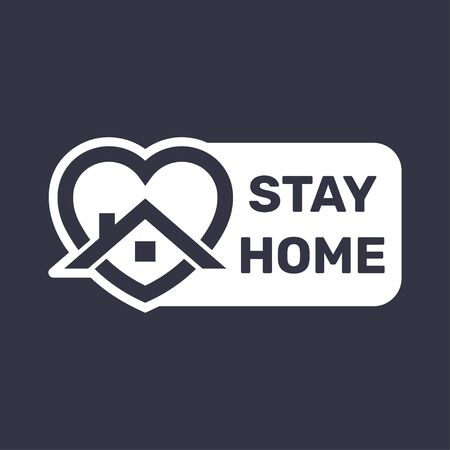 Stay at home. COVID 19 or coronavirus protection campaign logo. 일러스트