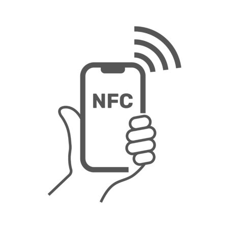 Near field communication, mobile phone with NFC module in hand, payment using smartphone, NFC vector line icon for apps and websites.