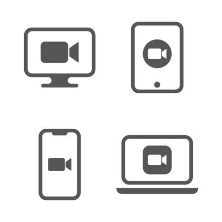 Blue camera icons - Camera app icons on different gadgets. EPS 10 Vectores