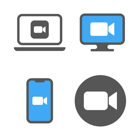 Blue camera icons - Live media streaming application for the phone, conference video calls.