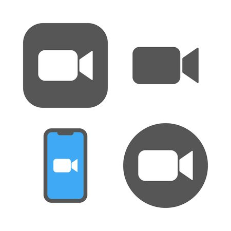 Camera icons - Live media streaming application, conference video calls.