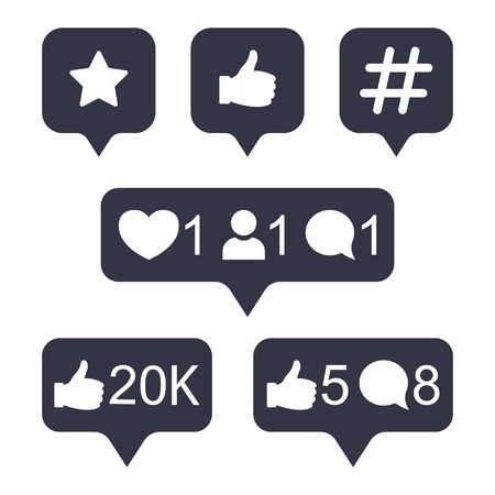 Social media modern button in golden gradient color. Like, follower, comment button, icon, symbol, ui, app, web. Vector illustration. Vectores