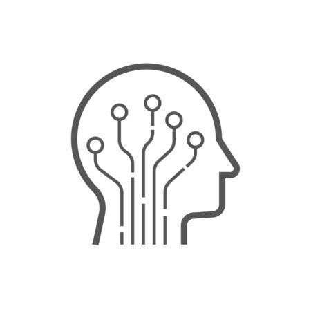 Head human smart technology logo vector. Brain human artificial logo type, icon vector, smart tech logo vector. Foto de archivo - 147130437