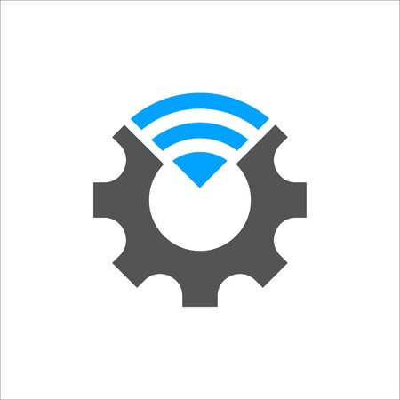 Industry 4.0 vector illustration. Cogwheel and blue connection icon. Manufacturing technology revolution with digital system. 일러스트