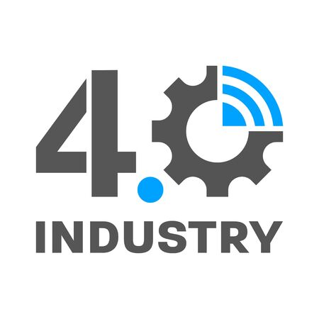 Industry 4.0 smart factory concept logo, gear and wireless - symbolize the industry 4.0. Logo