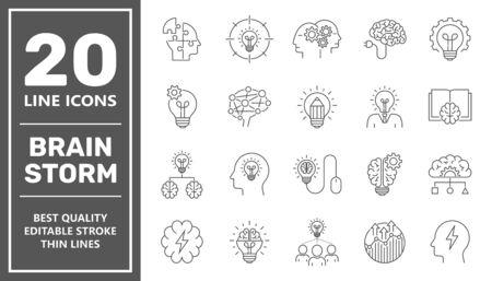 Brainstorming Line Icons Set. Brain, Creativity, Novel Idea. Editable Stroke. 免版税图像 - 147464580