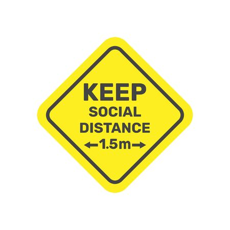 Social distancing icon vector 1.5 metres distance. Quarantine measures. Warning sign.
