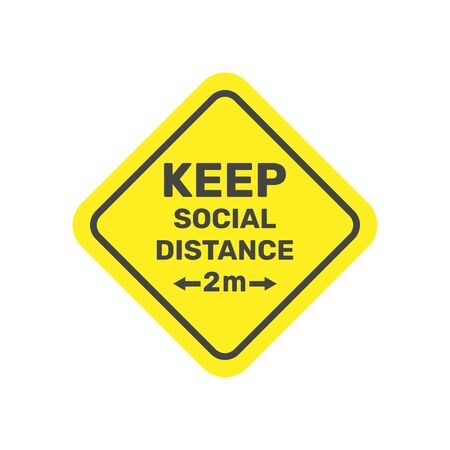 Social Distancing. Keep safe distance 2 metres icon. Warning Sign. Vector Image. 스톡 콘텐츠 - 147464600
