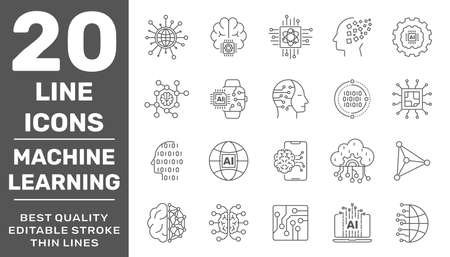 Simple set of artificial intelligence and machine learning related line icons contains such icons as droid, chip, brain, AI, IoT. Editable Stroke