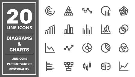 Simple set of diagram and graphs related vector icons for your design. EPS 矢量图像