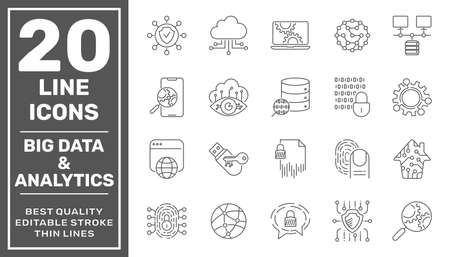 Data Processing line vector icon set. Contains such icons as Big Data, Data Analytics, Data Collection, Cloud Computing, Machine Learning, Security System. Editable Stroke