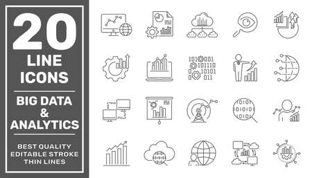 Set of data analysis related technology vector line icons. Contains such Icons as Charts, Graphs, Traffic Analysis, Data Analytics, Big Data and more. Editable Stroke