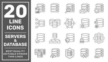 Network and hosting related line icon set. Server and database vector linear icon collection. Editable Stroke. 矢量图像