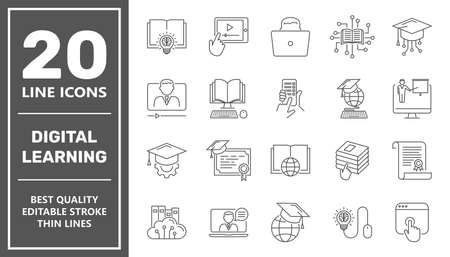 E-learning, online education elements - minimal thin line web icon set. Outline icons collection. Simple vector illustration. Editable Stroke. 矢量图像