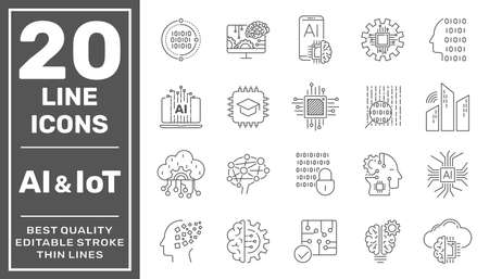 Artificial Intelligence and Internet of Things (AI, IoT) set of line vector icons. Editable Stroke