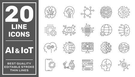 Artificial intelligence and Iot line icons set. Black vector illustration. Editable stroke. EPS 10 矢量图像