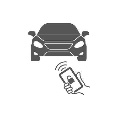 Locking car using mobile application on a smart phone. Concept of remote control and car protection through the internet. Remote control. EPS 10 矢量图像