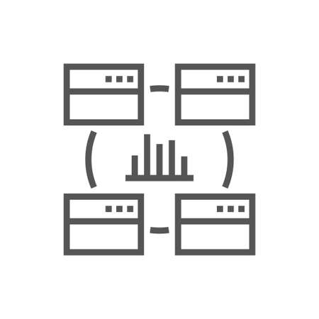Data analysis, statistics, analytics - minimal thin line web icon