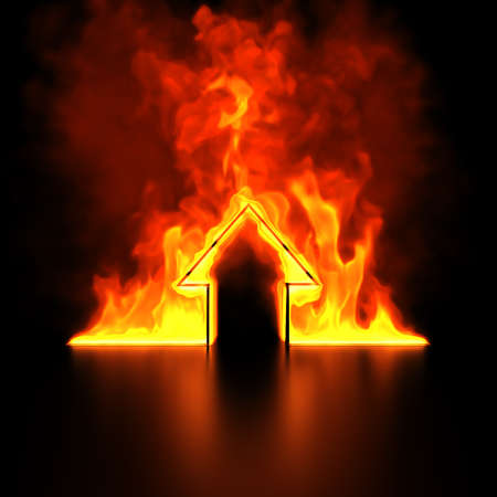 calamity: Burning house shape concept 3d render